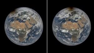"""Satelitales de la Nasa muestran el momento en que un eclipse solar hizo que el Polo Norte """"estuviese en llamas"""" (Imágenes)"""